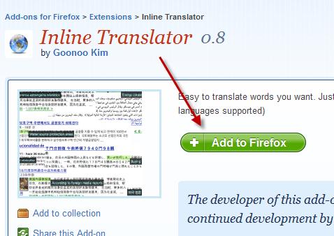 inline translator firefox vertaal addon installatie