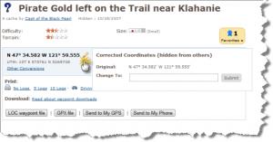 Corrected coordinates opslaan op Geocaching.com