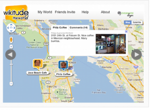 Wikitude Myworld view Evernote notes on a map