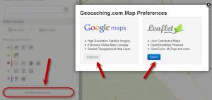 Geocaching Google Maps Set Preferences