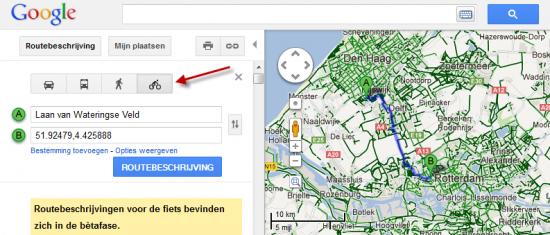 Google Maps fietsen route
