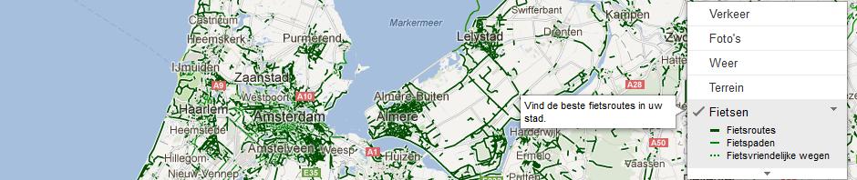 Google Maps toont fietspaden in Nederland